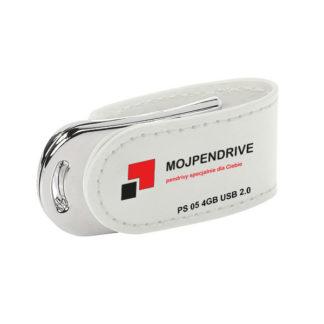Biały, biznesowy, skórzany pendrive PS 05 4GB USB 2.0