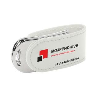 Biały, biznesowy, skórzany pendrive PS 05 64GB USB 2.0